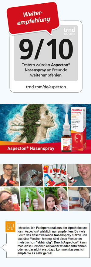 Recommendation: 9/10 testers would recommend Aspecton Nasal Spray to their friends